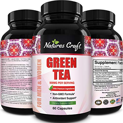 Green Tea Weight Loss Pills with Detox Cleanse, Burn Belly Fat and Lose Weight Naturally Fast a Dietary Supplement with Pure Extract for Men and Women, Pre Workout and Natural Energy
