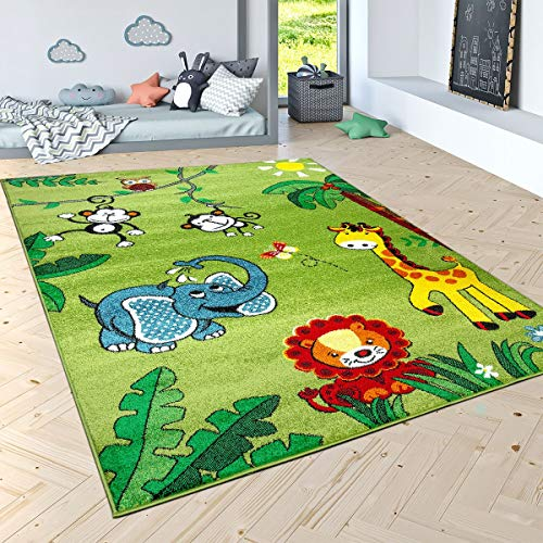 Paco Home Kids Rug with Cute Jungle Animals for Boys Bedroom Low Pile Area Rug in Modern Green, Size:5'3' x 7'3'