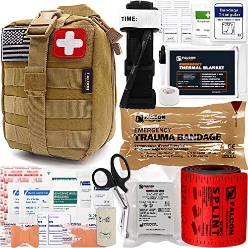 Falcon Medi-Tac Trauma Kit EMT IFAK Emergency Treatment Care First Aid Kit with Aluminum Rod Tourniquet for Severe Bleeding Control (Tan)