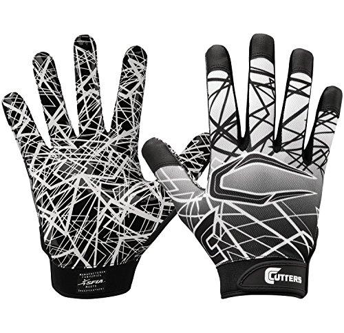 Cutters Gloves S150 Game Day Receiver Gloves, Black, Medium