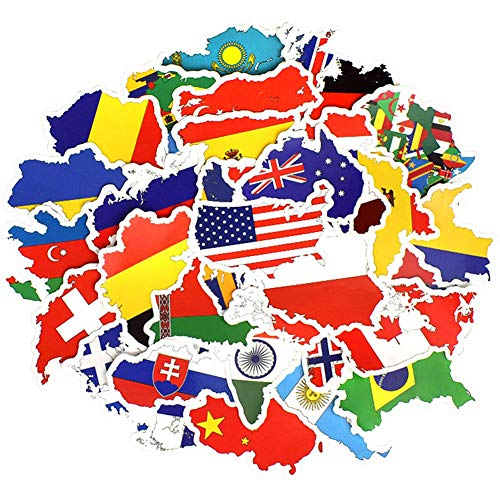 Honch Vinyl National Flag Country Map Stickers World Flag Stickers Pack 50 Pcs Country Flag Decals for Laptop Car Suitcase Water Bottle Helmet Truck