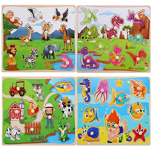 Wooden Peg Puzzles for Toddlers, Animal Pattern Matching Chunky  Jumbo Knob Board Learning Toys, Kids Preschool Educational Games for Boys Girls Ages 1 2 3 Years Old(Set of 4)