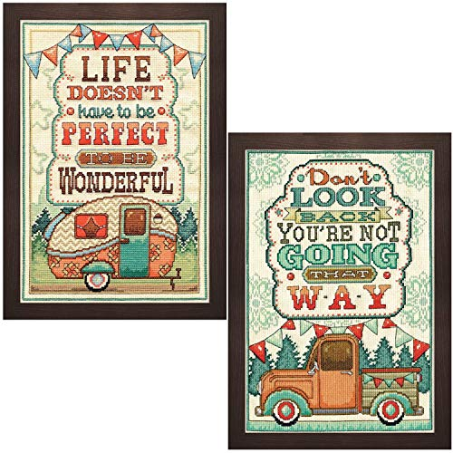 Design Works - Camping - Counted Cross Stitch Kits Bundle - 4 Items: Don't Look Back, Wonderful Life, 8 by 12-inch with 2 Gift Cards