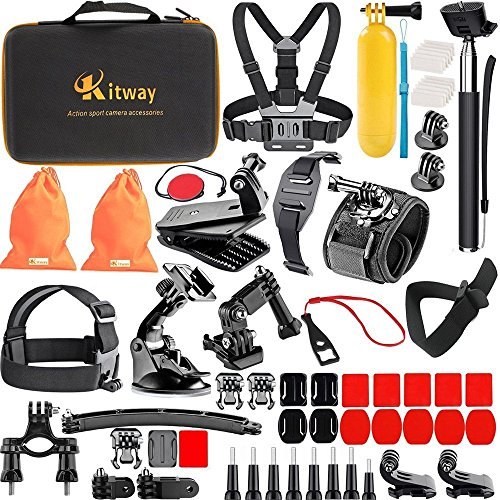 Kitway 65-in-1 Action Camera Accessories Kit for GoPro HERO9, Compatible with GoPro Max, Hero 8 7 6 5 4 3+ 3 2 1/EK7000/Wewdigi EV5000/DBpower N6/Crosstour (Accessories for Action camare)