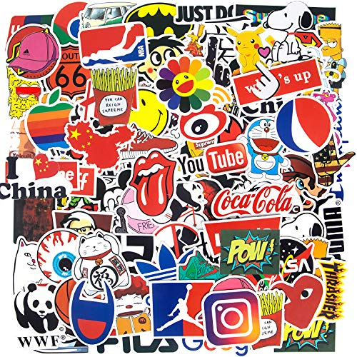 Fashion Brand Stickers, Cool Skateboard Stickers[100pcs], Water Bottle Stickers Vinyl Waterproof Stickers Computer Stickers for Teens Luggage Car Bike Bicycle