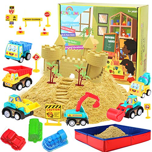 Kenlaimi Construction Moving Sand Kit - Play Sand for Kids - Construction Vehicle Playset - 2lbs Play Sand 6 Mini Construction Trucks 10 Road Signs with Foldable Sandbox Birthday Gifts for Boys Girls