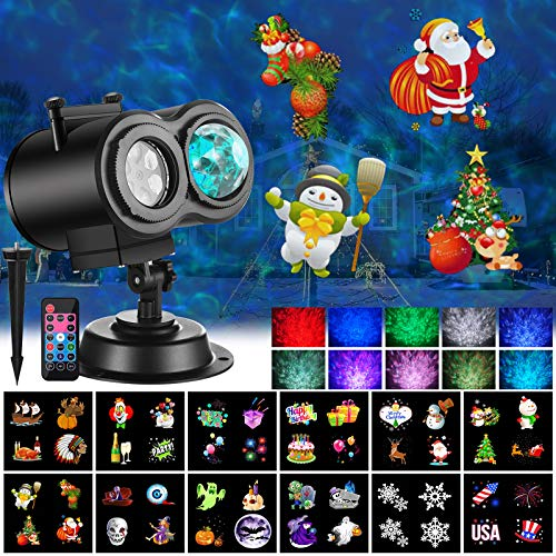 Ocean Wave Christmas Projector Lights 2-in-1 Moving Patterns with Ocean Wave LED Landscape Lights Waterproof Outdoor Indoor Xmas Theme Party Yard Garden Decorations, 12 Slides 10 Colors (Black)