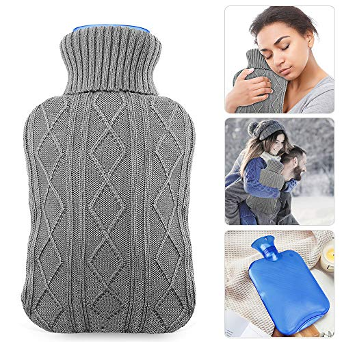 Hot Water Bottle with Knit Cover, UBEGOOD Classic Transparent Hot Water Bag for Pain Relief, Staying Warm, Gift for Women and Girls (2 Liters, Blue/Gray)
