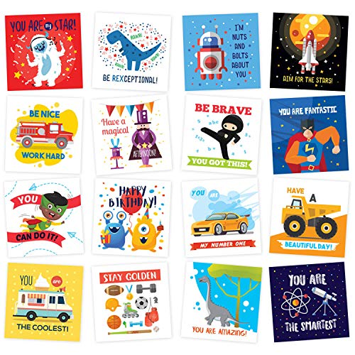 Lunch Box Notes for Kids - 60 Fun Motivational and Cute Inspirational Thinking of You Cards for Boys Lunchbox