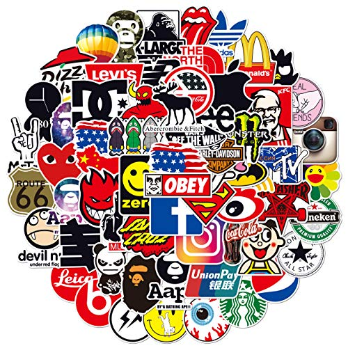 Fashion Brand Stickers Pack 100pcs,Skateboard Stickers for Teens, Random Sticker Bomb,Brand Decal Stickers for Skateboard Bike Laptop Water Bottles(100 Pack)